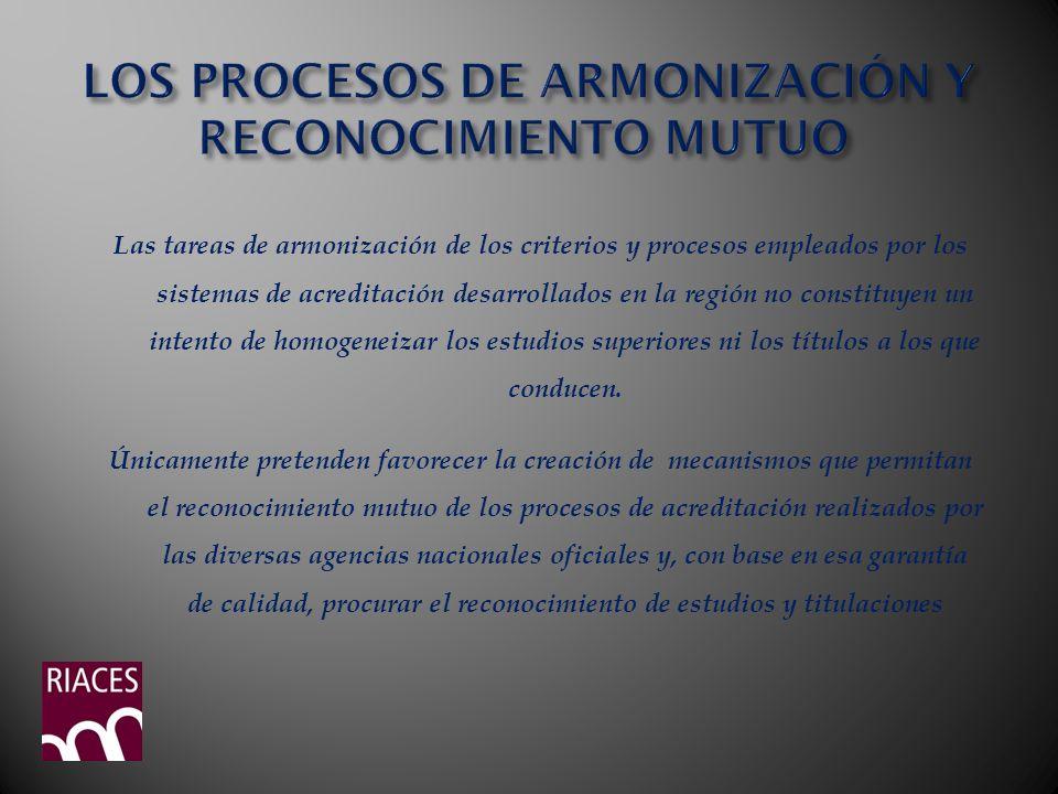 Las tareas de armonización de los criterios y procesos empleados por los sistemas de acreditación desarrollados en la región no constituyen un intento