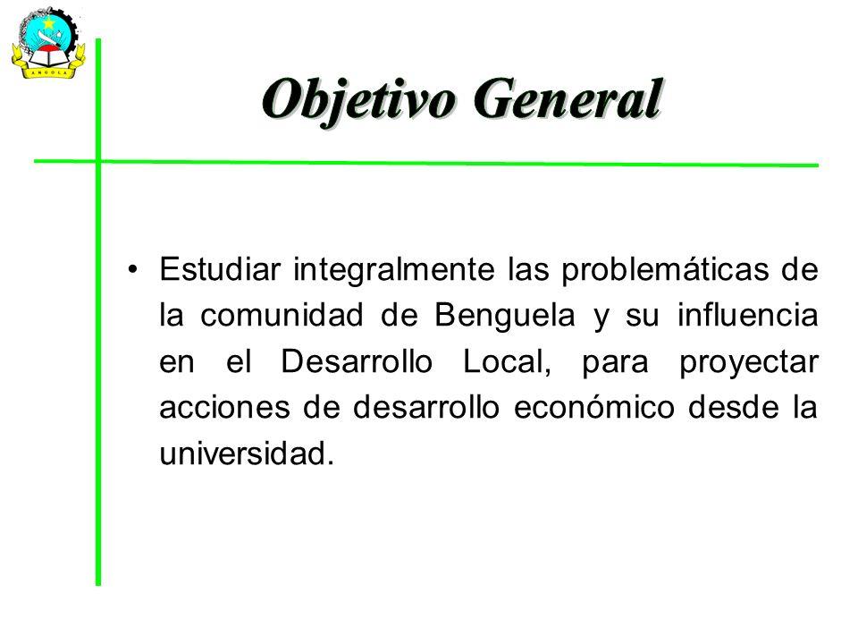 Estudiar integralmente las problemáticas de la comunidad de Benguela y su influencia en el Desarrollo Local, para proyectar acciones de desarrollo eco