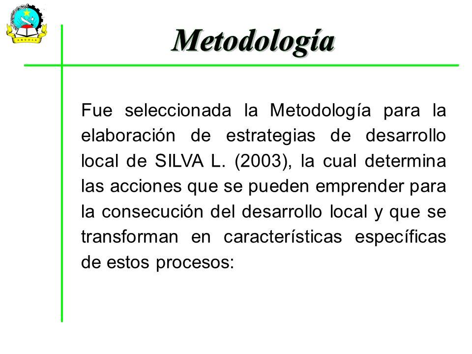 Fue seleccionada la Metodología para la elaboración de estrategias de desarrollo local de SILVA L. (2003), la cual determina las acciones que se puede