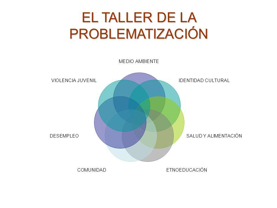 EL TALLER DE LA PROBLEMATIZACIÓN MEDIO AMBIENTE IDENTIDAD CULTURAL SALUD Y ALIMENTACIÓN ETNOEDUCACIÓNCOMUNIDAD DESEMPLEO VIOLENCIA JUVENIL