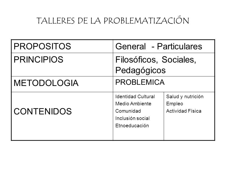 TALLERES DE LA PROBLEMATIZACIÓN PROPOSITOSGeneral - Particulares PRINCIPIOSFilosóficos, Sociales, Pedagógicos METODOLOGIA PROBLEMICA CONTENIDOS Identi
