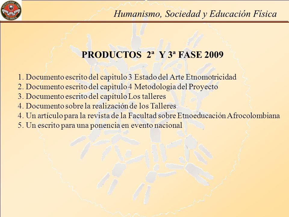 PRODUCTOS 2ª Y 3ª FASE 2009 1. Documento escrito del capitulo 3 Estado del Arte Etnomotricidad 2. Documento escrito del capìtulo 4 Metodologia del Pro