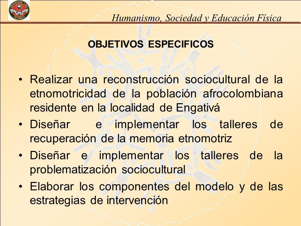 Humanismo, Sociedad y Educación Física OBJETIVOS ESPECIFICOS Realizar una reconstrucción sociocultural de la etnomotricidad de la población afrocolomb