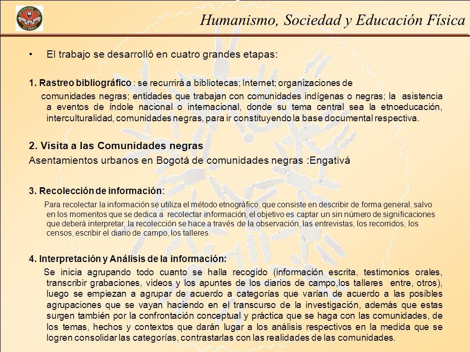 Humanismo, Sociedad y Educación Física El trabajo se desarrolló en cuatro grandes etapas: 1. Rastreo bibliográfico : se recurrirá a bibliotecas; Inter