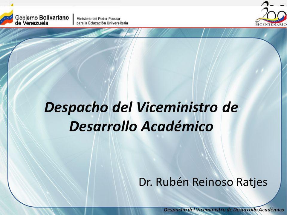 Despacho del Viceministro de Desarrollo Académico Dr. Rubén Reinoso Ratjes