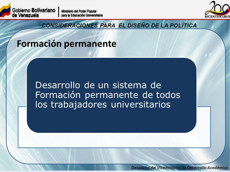 Despacho del Viceministro de Desarrollo Académico CONSIDERACIONES PARA EL DISEÑO DE LA POLÍTICA Desarrollo de un sistema de Formación permanente de to