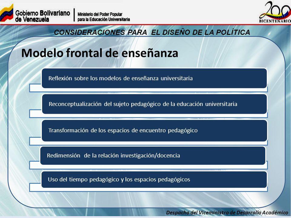 Despacho del Viceministro de Desarrollo Académico CONSIDERACIONES PARA EL DISEÑO DE LA POLÍTICA Reflexión sobre los modelos de enseñanza universitaria