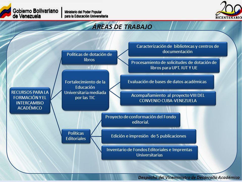 Despacho del Viceministro de Desarrollo Académico ÁREAS DE TRABAJO RECURSOS PARA LA FORMACIÓN Y EL INTERCAMBIO ACADÉMICO Políticas de dotación de libr
