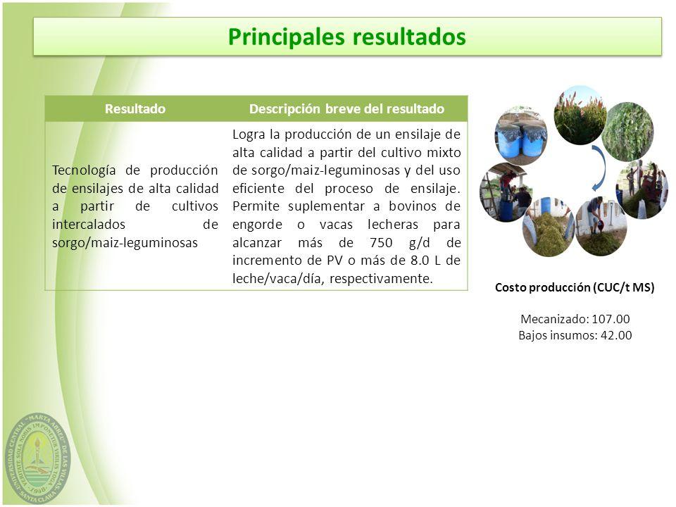 ResultadoDescripción breve del resultado Tecnología de producción de ensilajes de alta calidad a partir de cultivos intercalados de sorgo/maiz-legumin