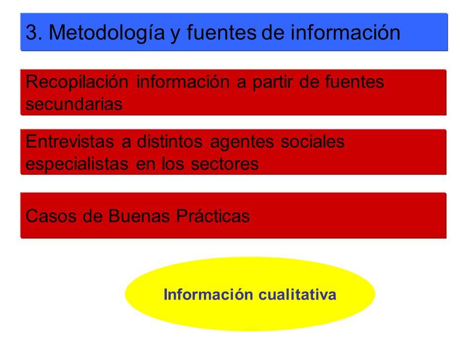 3. Metodología y fuentes de información Recopilación información a partir de fuentes secundarias Entrevistas a distintos agentes sociales especialista