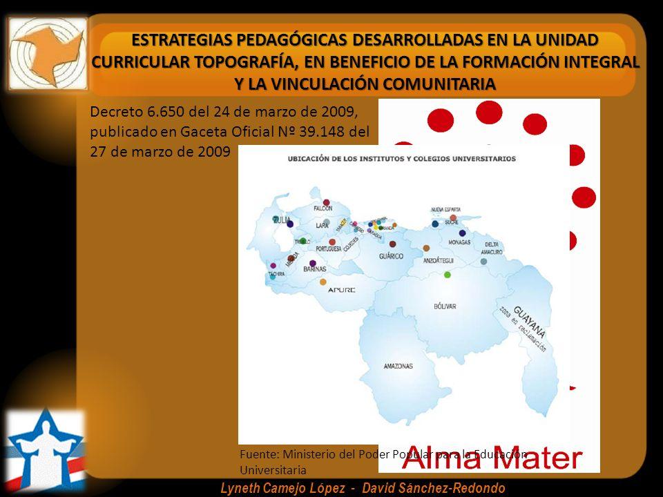 ESTRATEGIAS PEDAGÓGICAS DESARROLLADAS EN LA UNIDAD CURRICULAR TOPOGRAFÍA, EN BENEFICIO DE LA FORMACIÓN INTEGRAL Y LA VINCULACIÓN COMUNITARIA Lyneth Camejo López - David Sánchez-Redondo Trayecto Inicial (12 Semanas) Trayecto I (1 año) Asistente de Topógrafo y/o Dibujante Técnico Trayecto II (1 año) Trayecto III (1 año) Trayecto IV (1 año) Especialista en Estructura, Vialidad ó Hidráulica (1 año) Formación Socio crítica a lo largo de toda la trayectoria educativa El Proyecto como eje de la formación Ingeniero en Construcción Civil Técnico Superior Universitario en Construcción Civil Características del PNF en Construcción Civil Asistente de Topógrafo