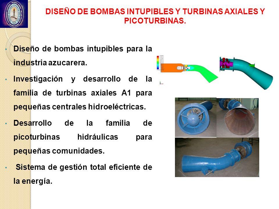 DISEÑO DE BOMBAS INTUPIBLES Y TURBINAS AXIALES Y PICOTURBINAS. Diseño de bombas intupibles para la industria azucarera. Investigación y desarrollo de