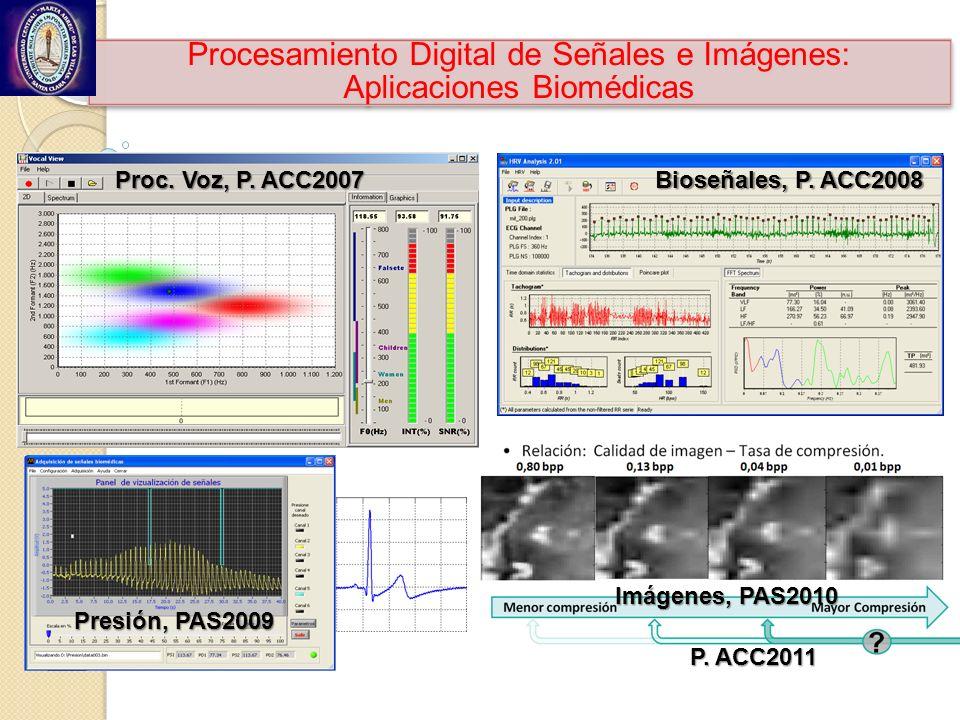 Procesamiento Digital de Señales e Imágenes: Aplicaciones Biomédicas Proc. Voz, P. ACC2007 Bioseñales, P. ACC2008 Presión, PAS2009 Imágenes, PAS2010 P