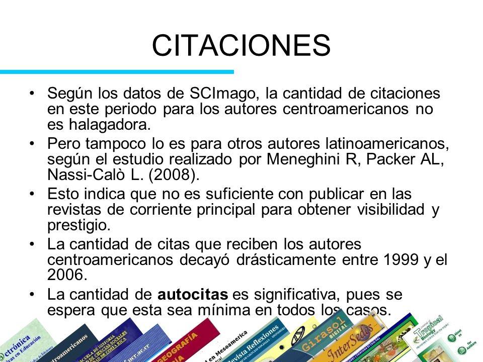 CITACIONES Según los datos de SCImago, la cantidad de citaciones en este periodo para los autores centroamericanos no es halagadora.