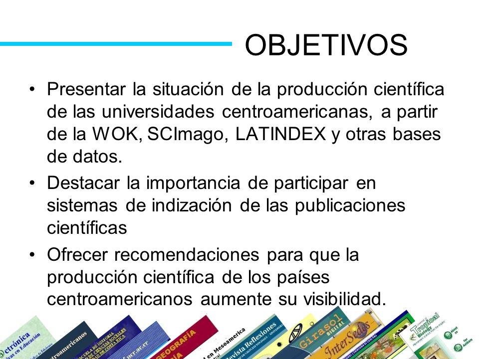 OBJETIVOS Presentar la situación de la producción científica de las universidades centroamericanas, a partir de la WOK, SCImago, LATINDEX y otras base