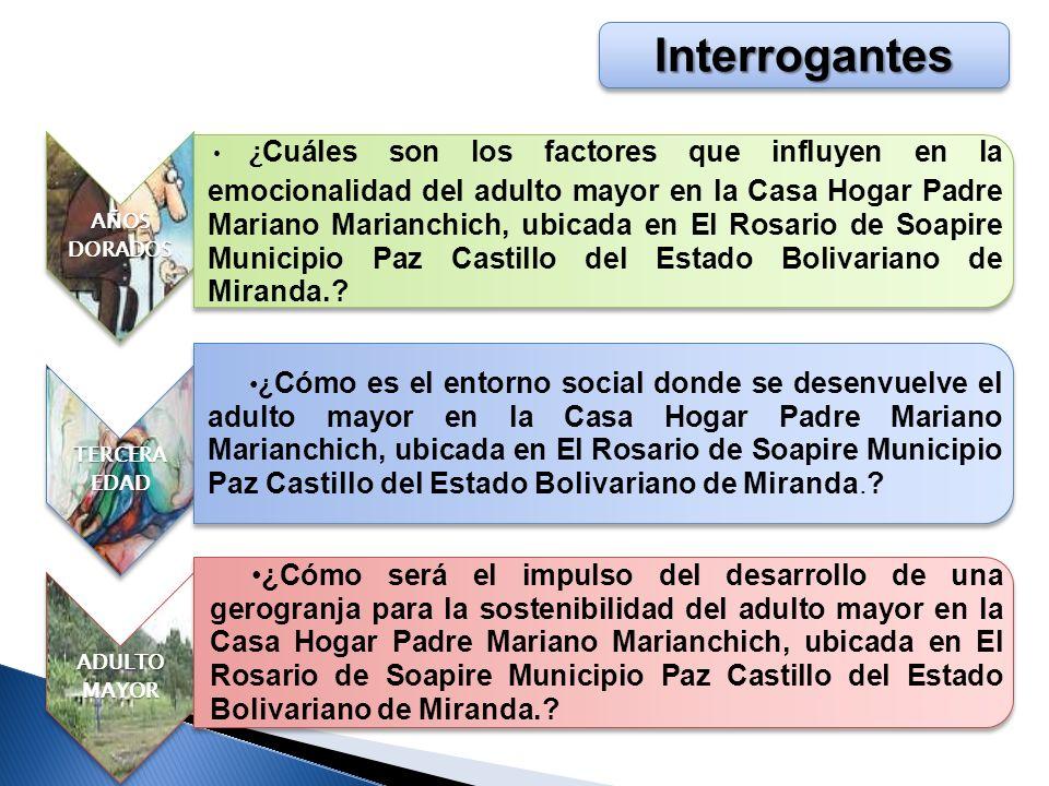 Objetivo General Develar el comportamiento biosocio- emocional del adulto mayor que vive en la Casa Hogar Padre Mariano Marianchich, ubicada en El Rosario de Soapire Municipio Paz Castillo del Estado Bolivariano de Miranda.