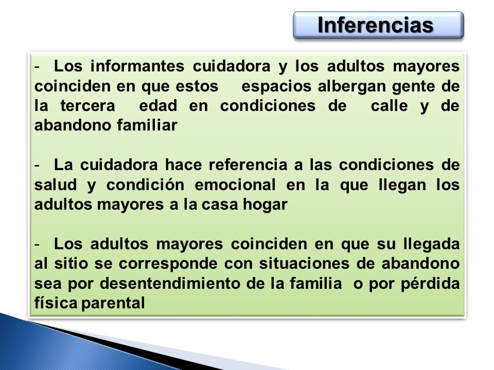 Inferencias -Los informantes cuidadora y los adultos mayores coinciden en que estos espacios albergan gente de la tercera edad en condiciones de calle