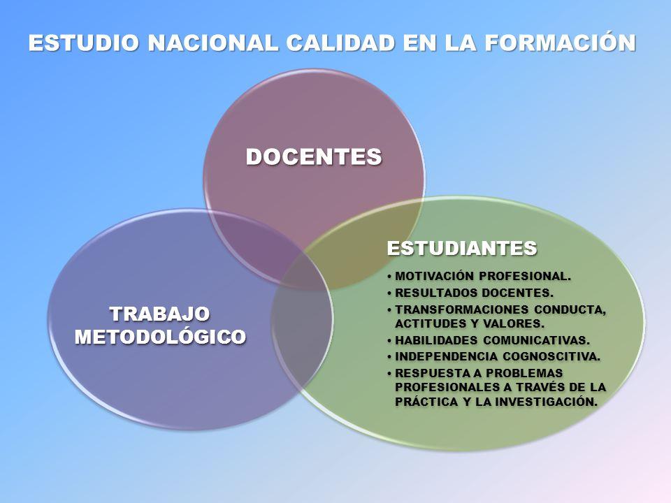 ESTUDIO NACIONAL CALIDAD EN LA FORMACIÓN DOCENTES ESTUDIANTES MOTIVACIÓN PROFESIONAL.