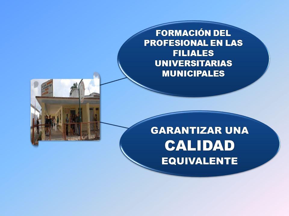 FORMACIÓN DEL PROFESIONAL EN LAS FILIALES UNIVERSITARIAS MUNICIPALES GARANTIZAR UNA CALIDAD EQUIVALENTE
