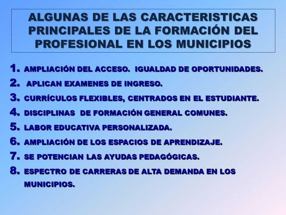 ALGUNAS DE LAS CARACTERISTICAS PRINCIPALES DE LA FORMACIÓN DEL PROFESIONAL EN LOS MUNICIPIOS 1.