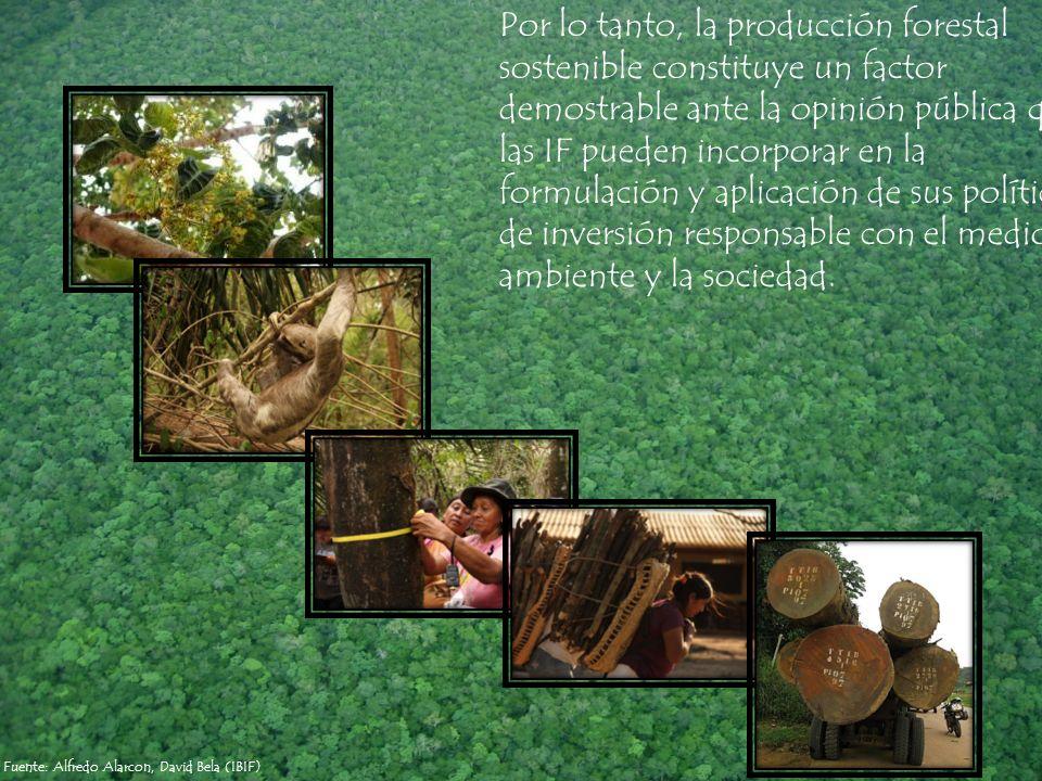 Fuente: Alfredo Alarcon, David Bela (IBIF) Por lo tanto, la producción forestal sostenible constituye un factor demostrable ante la opinión pública qu