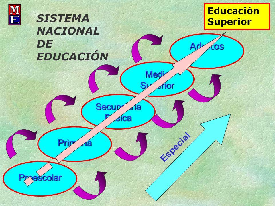 Preescolar Primaria Secundaria Básica Adultos Media Superior Especial Educación Superior SISTEMA NACIONAL DE EDUCACIÓN