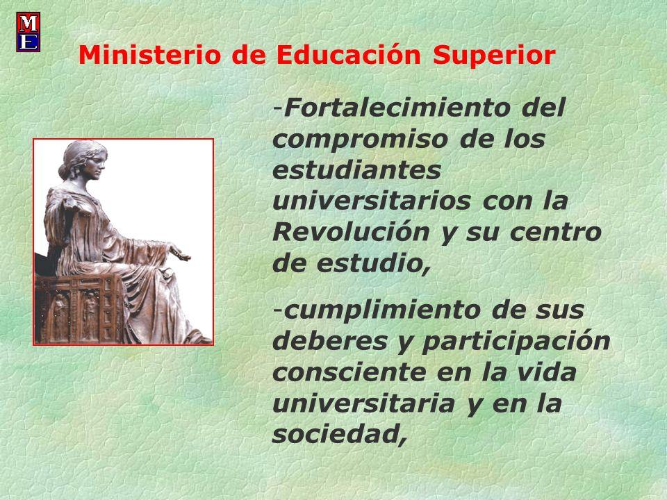 -Fortalecimiento del compromiso de los estudiantes universitarios con la Revolución y su centro de estudio, -cumplimiento de sus deberes y participaci