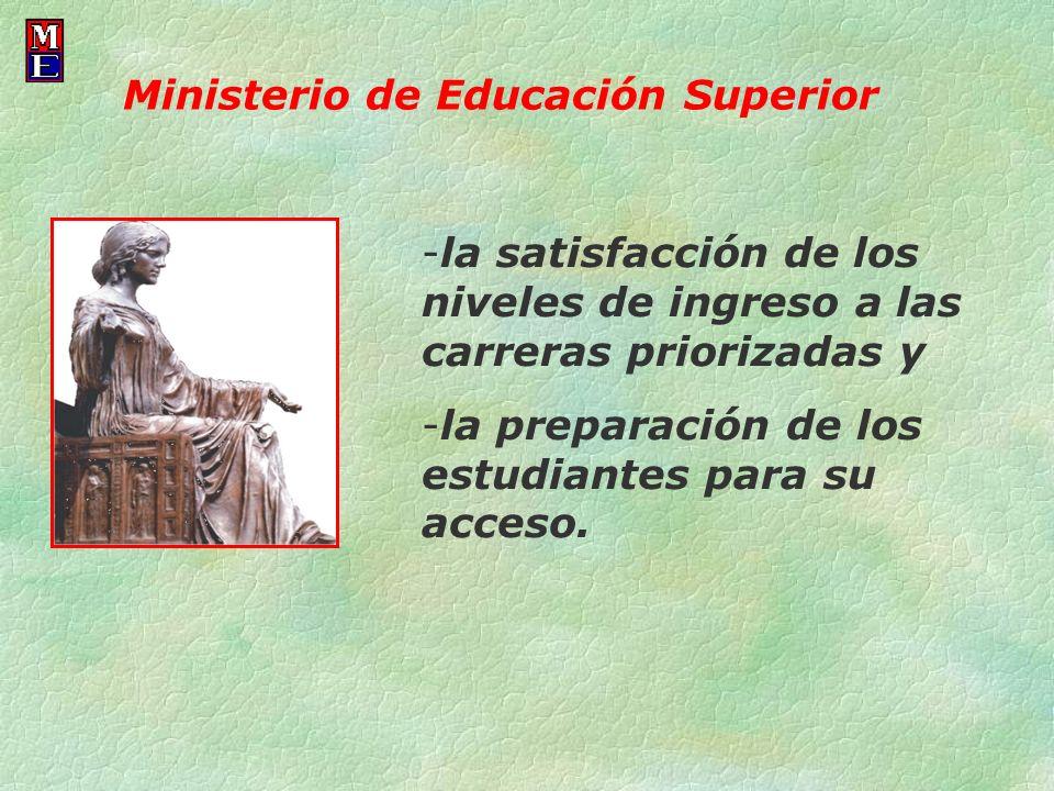 -la satisfacción de los niveles de ingreso a las carreras priorizadas y -la preparación de los estudiantes para su acceso. Ministerio de Educación Sup