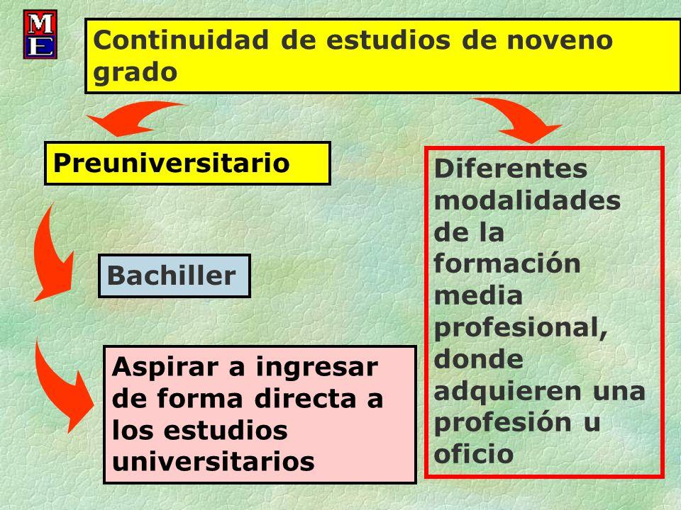 Diferentes modalidades de la formación media profesional, donde adquieren una profesión u oficio Continuidad de estudios de noveno grado Preuniversita