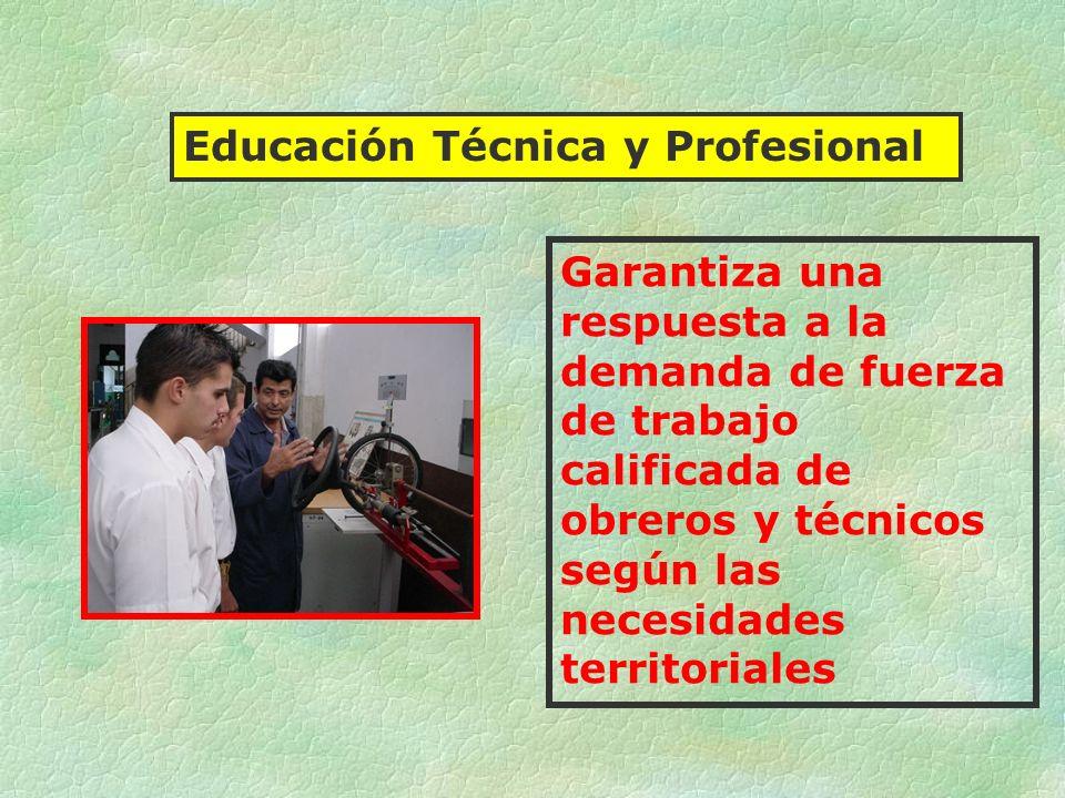 Garantiza una respuesta a la demanda de fuerza de trabajo calificada de obreros y técnicos según las necesidades territoriales Educación Técnica y Pro