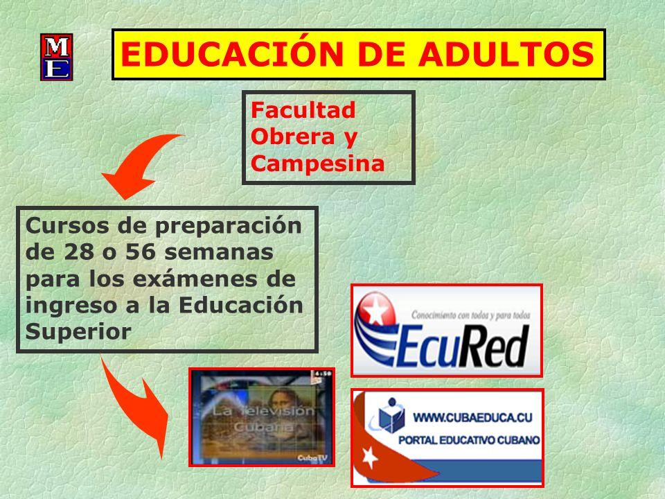 Facultad Obrera y Campesina EDUCACIÓN DE ADULTOS Cursos de preparación de 28 o 56 semanas para los exámenes de ingreso a la Educación Superior