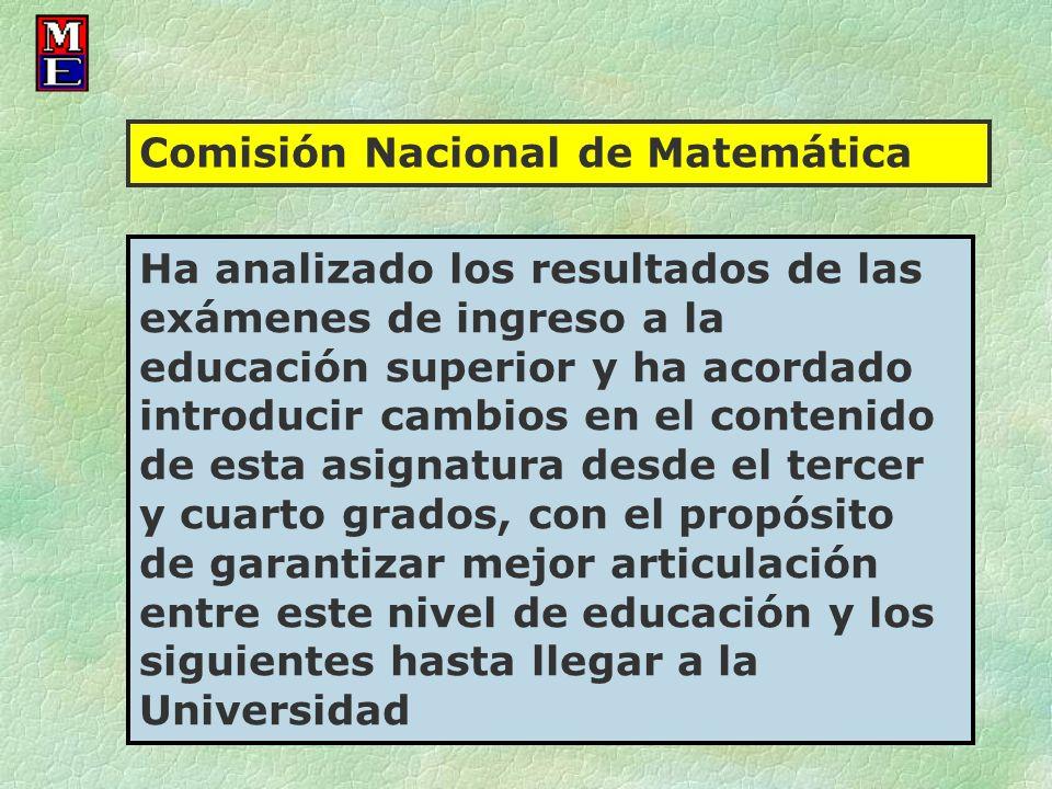 Comisión Nacional de Matemática Ha analizado los resultados de las exámenes de ingreso a la educación superior y ha acordado introducir cambios en el