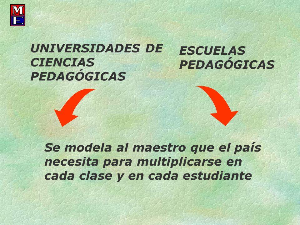 UNIVERSIDADES DE CIENCIAS PEDAGÓGICAS ESCUELAS PEDAGÓGICAS Se modela al maestro que el país necesita para multiplicarse en cada clase y en cada estudi