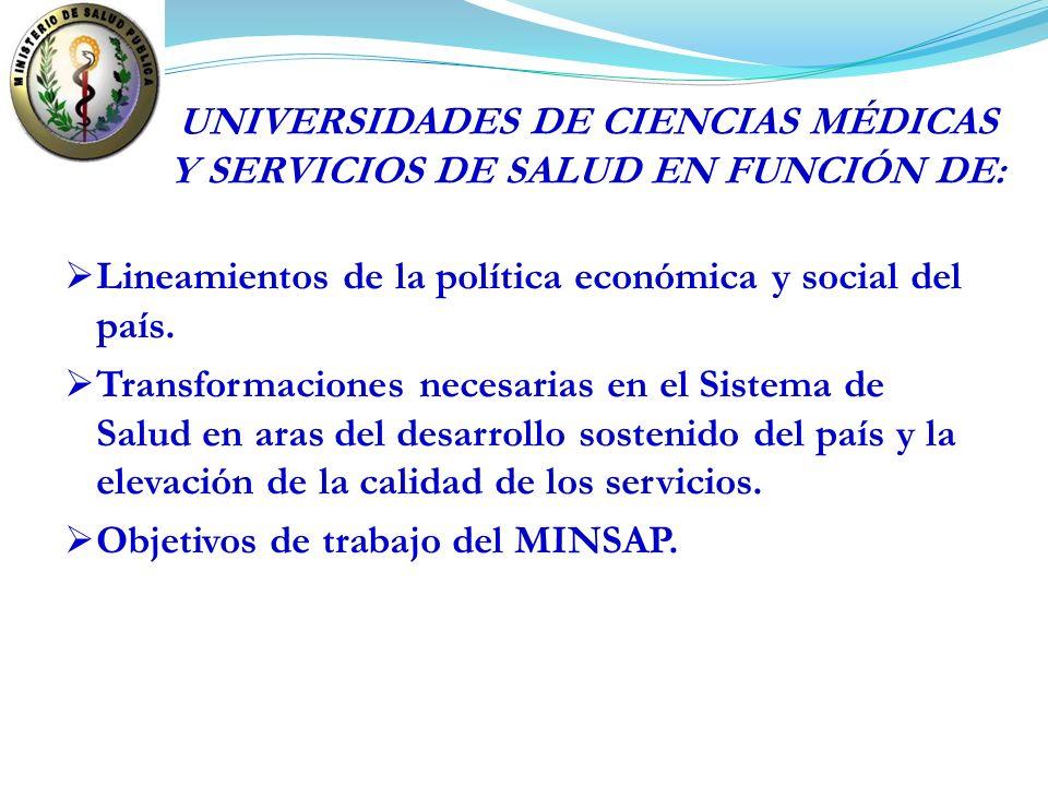 UNIVERSIDADES DE CIENCIAS MÉDICAS Y SERVICIOS DE SALUD EN FUNCIÓN DE: Lineamientos de la política económica y social del país. Transformaciones necesa