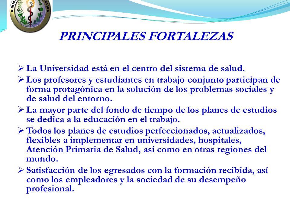 PRINCIPALES FORTALEZAS La Universidad está en el centro del sistema de salud. Los profesores y estudiantes en trabajo conjunto participan de forma pro