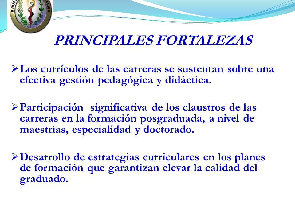 PRINCIPALES FORTALEZAS Los currículos de las carreras se sustentan sobre una efectiva gestión pedagógica y didáctica. Participación significativa de l