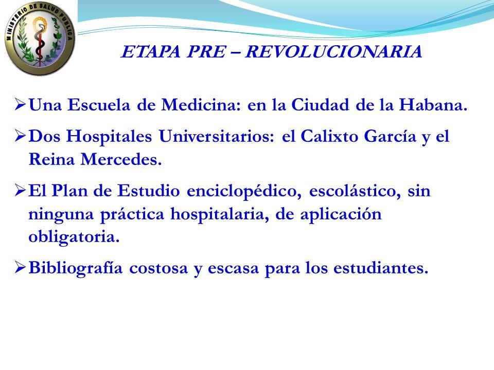Una Escuela de Medicina: en la Ciudad de la Habana. Dos Hospitales Universitarios: el Calixto García y el Reina Mercedes. El Plan de Estudio enciclopé