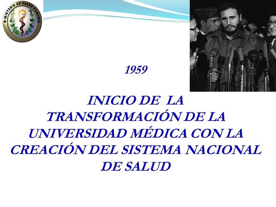 1959 INICIO DE LA TRANSFORMACIÓN DE LA UNIVERSIDAD MÉDICA CON LA CREACIÓN DEL SISTEMA NACIONAL DE SALUD