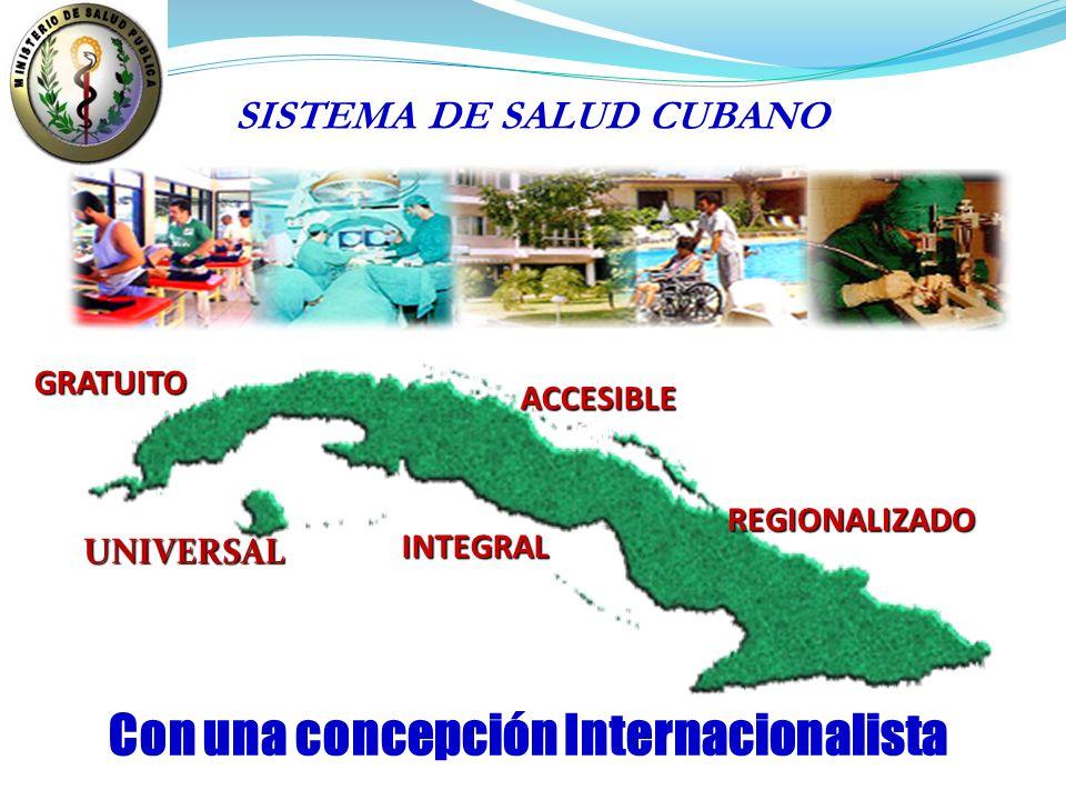 Con una concepción Internacionalista UNIVERSAL GRATUITO ACCESIBLE INTEGRAL REGIONALIZADO SISTEMA DE SALUD CUBANO