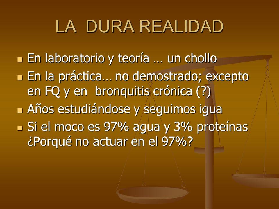 LA DURA REALIDAD En laboratorio y teoría … un chollo En laboratorio y teoría … un chollo En la práctica… no demostrado; excepto en FQ y en bronquitis