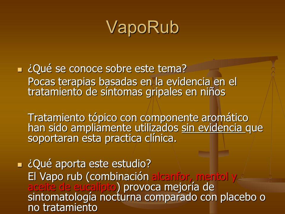 VapoRub ¿Qué se conoce sobre este tema? ¿Qué se conoce sobre este tema? Pocas terapias basadas en la evidencia en el tratamiento de síntomas gripales
