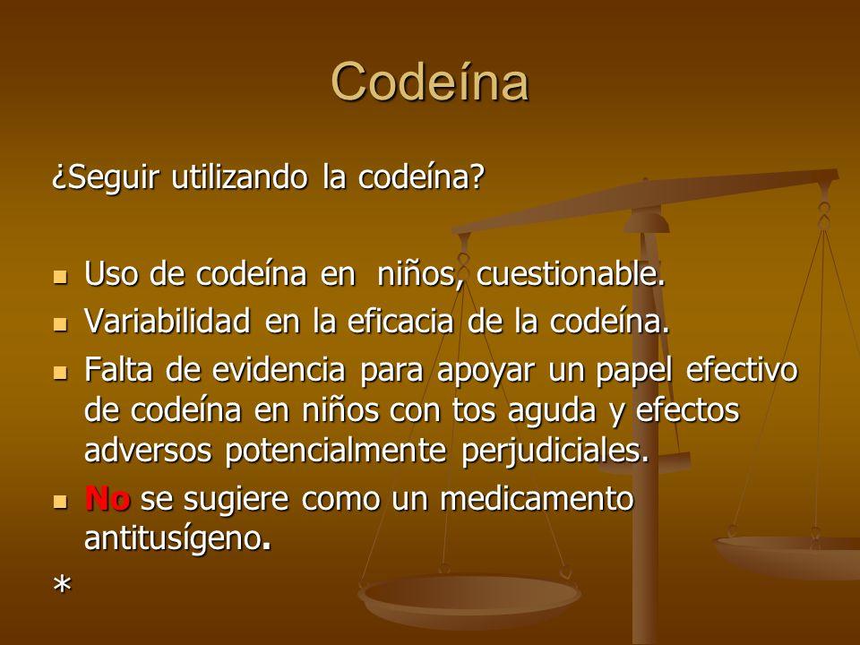 Codeína ¿Seguir utilizando la codeína? Uso de codeína en niños, cuestionable. Uso de codeína en niños, cuestionable. Variabilidad en la eficacia de la
