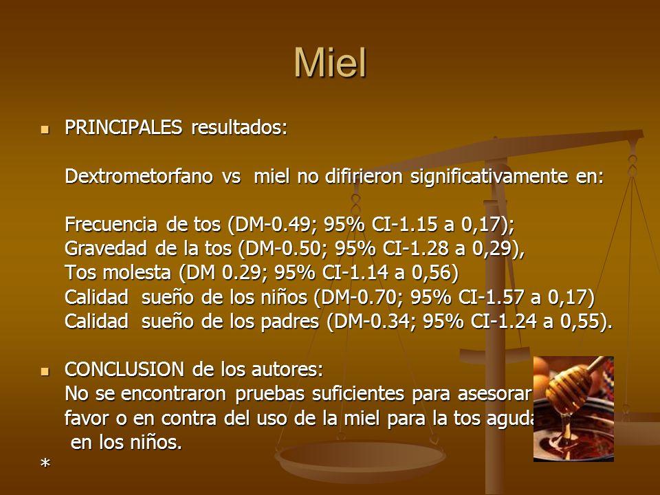Miel PRINCIPALES resultados: PRINCIPALES resultados: Dextrometorfano vs miel no difirieron significativamente en: Frecuencia de tos (DM-0.49; 95% CI-1