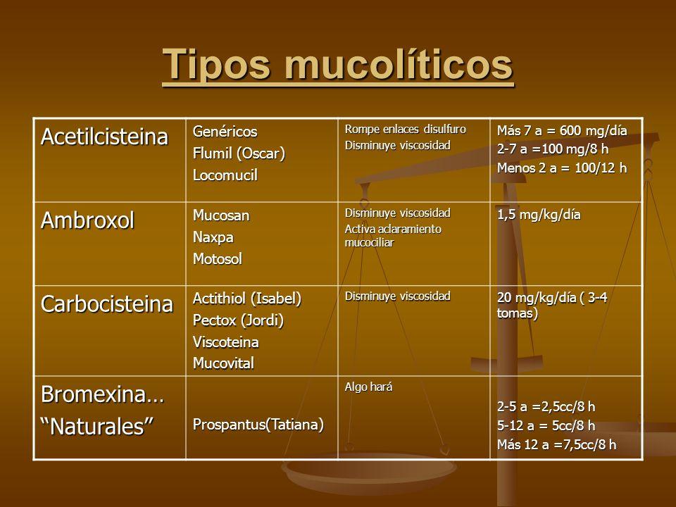 Tipos mucolíticos AcetilcisteinaGenéricos Flumil (Oscar) Locomucil Rompe enlaces disulfuro Disminuye viscosidad Más 7 a = 600 mg/día 2-7 a =100 mg/8 h