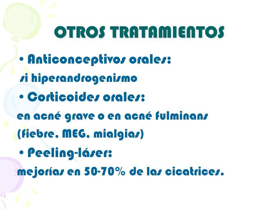 OTROS TRATAMIENTOS Anticonceptivos orales: si hiperandrogenismo Corticoides orales: en acné grave o en acné fulminans (fiebre, MEG, mialgias) Peeling-