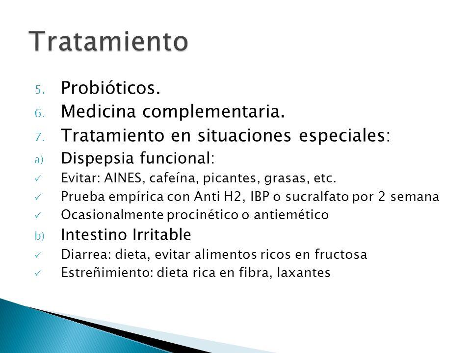 5. Probióticos. 6. Medicina complementaria. 7. Tratamiento en situaciones especiales: a) Dispepsia funcional: Evitar: AINES, cafeína, picantes, grasas