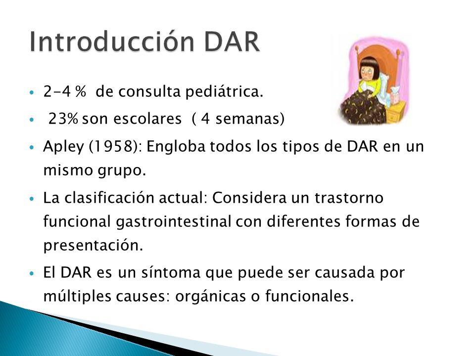 2-4 % de consulta pediátrica. 23% son escolares ( 4 semanas) Apley (1958): Engloba todos los tipos de DAR en un mismo grupo. La clasificación actual: