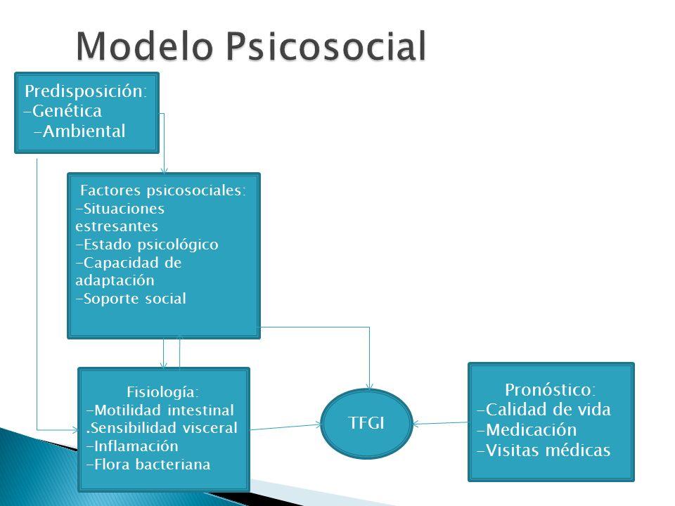 Predisposición: -Genética -Ambiental Factores psicosociales: -Situaciones estresantes -Estado psicológico -Capacidad de adaptación -Soporte social Fis
