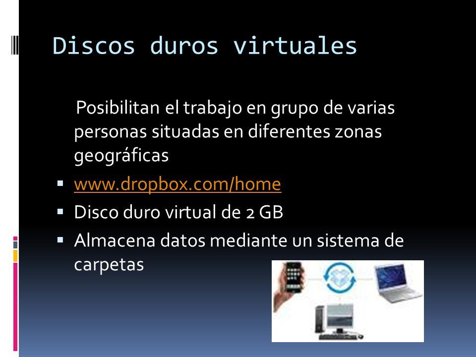 Discos duros virtuales Posibilitan el trabajo en grupo de varias personas situadas en diferentes zonas geográficas www.dropbox.com/home Disco duro vir