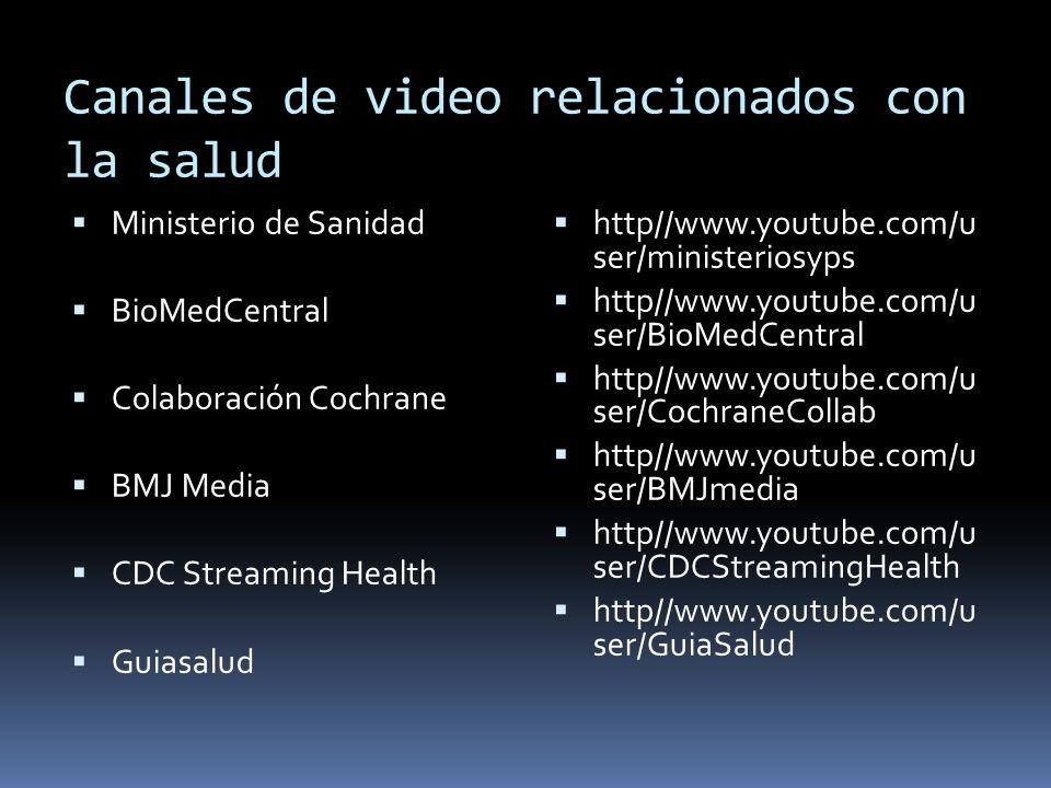 Canales de video relacionados con la salud Ministerio de Sanidad BioMedCentral Colaboración Cochrane BMJ Media CDC Streaming Health Guiasalud http//ww